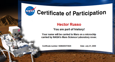 Certificado de participacion NASA