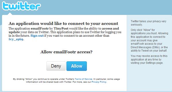 Autorización para entrar nuestro Twitter