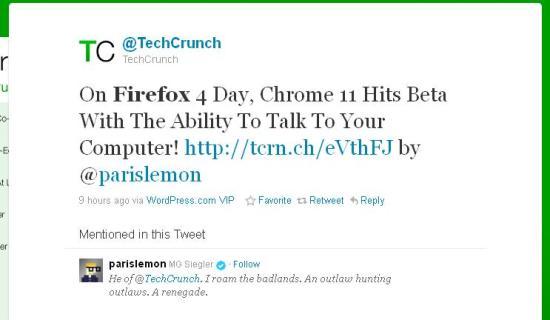 Tweet TechCrunch