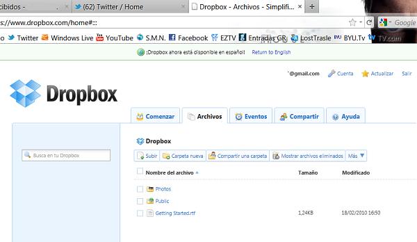 Mi cuenta en Dropbox