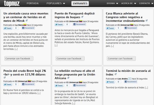 TopNuz, nuevo servicio de noticias en español e inglés que hace hincapié en las más relevantes