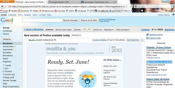 Mail de Mozilla ofreciendo descargar Firefox 5