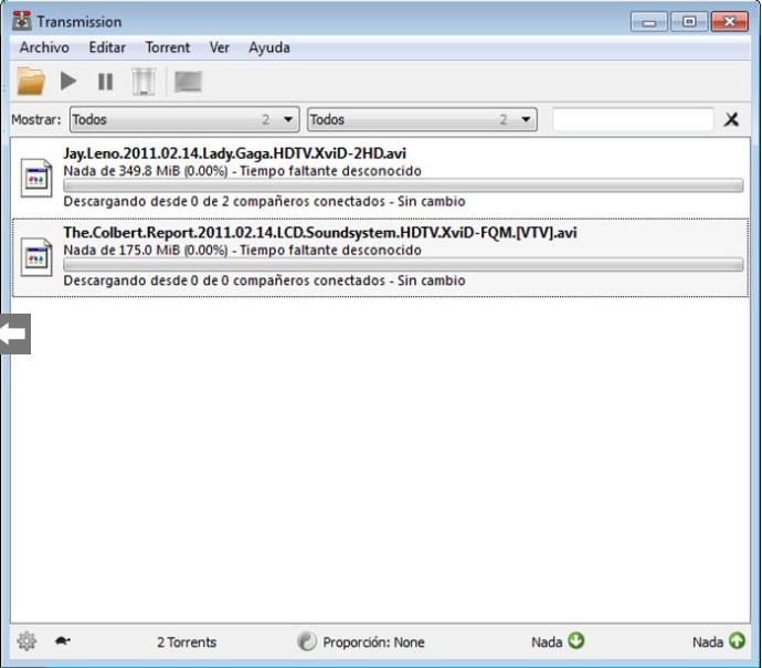 Transmission cliente Bittorrent ligero y sencillo para Mac, Linux y Window