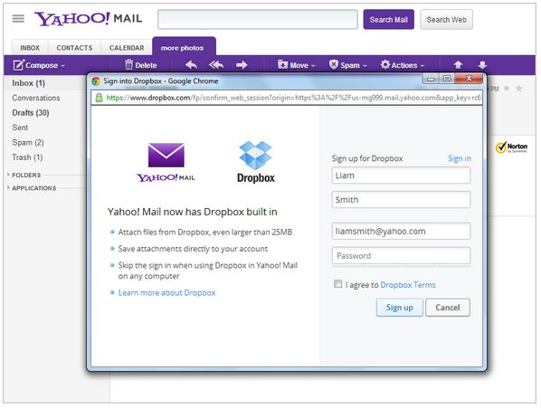 yahoo-email-dropbox
