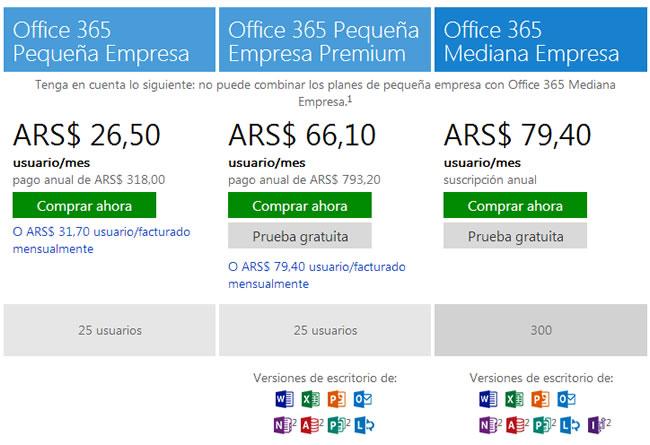 Comparar planes de Office 365 para empresas