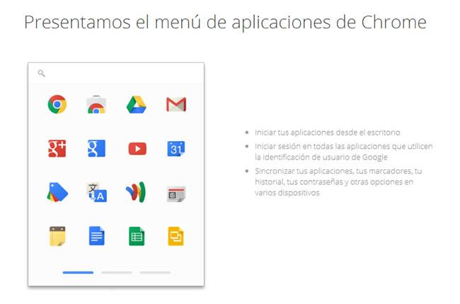 Menú de aplicaciones de Chrome