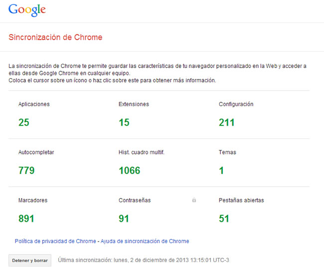 Sincronización de Chrome