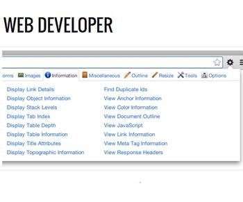 Web-Developer: Una herramienta para analizar todos los objetos en Programación Web