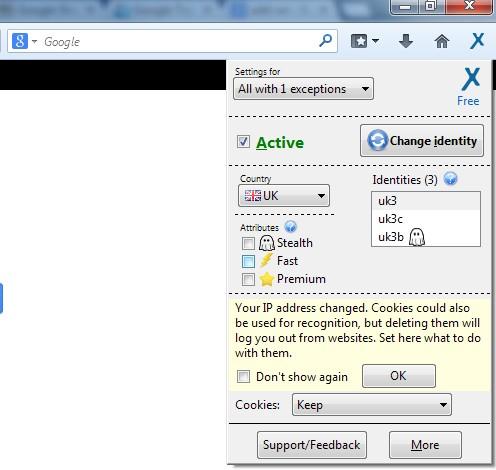 Complemento para Firefox que permite cambiar la dirección IP Anonymox