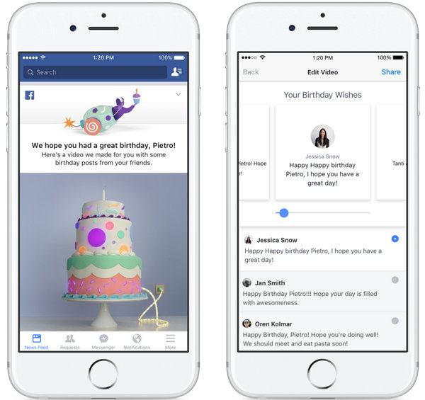 Facebook vídeo de cumpleaños