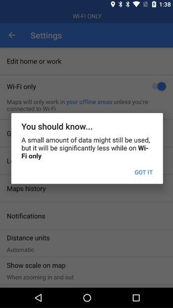Google Maps WiFi Mode
