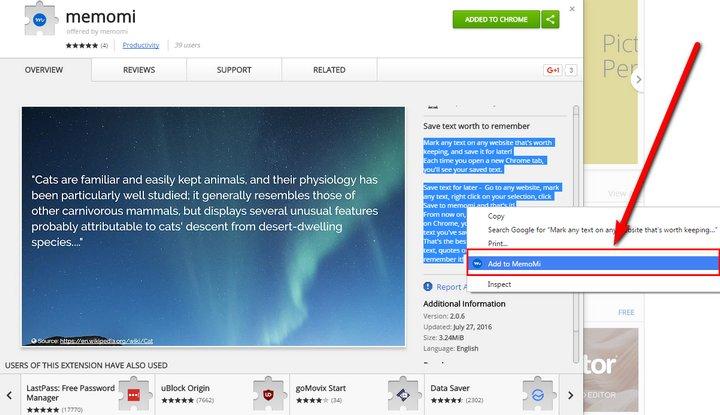 Memomi Chrome Extension