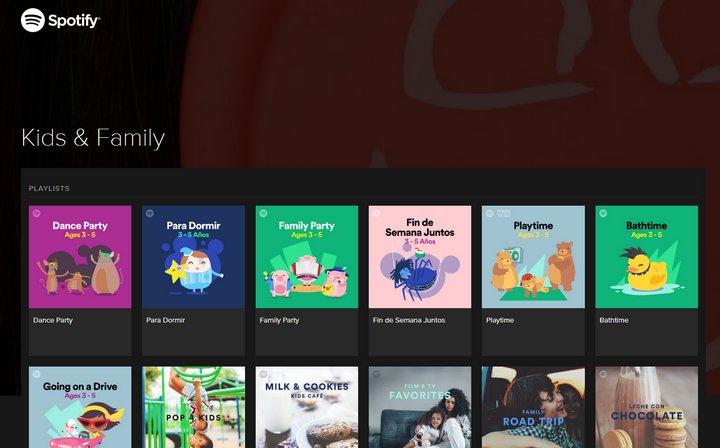 Spotify Niños y Familia