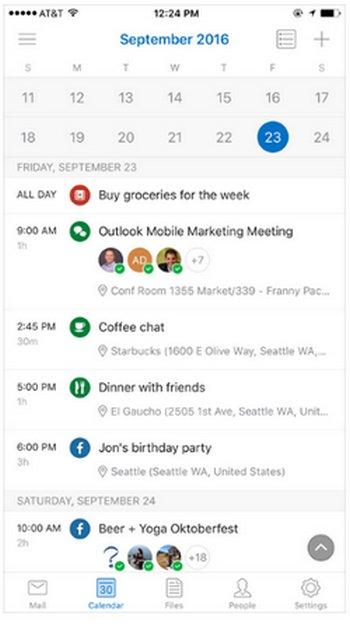 Calendario de Outlook - Android iOS