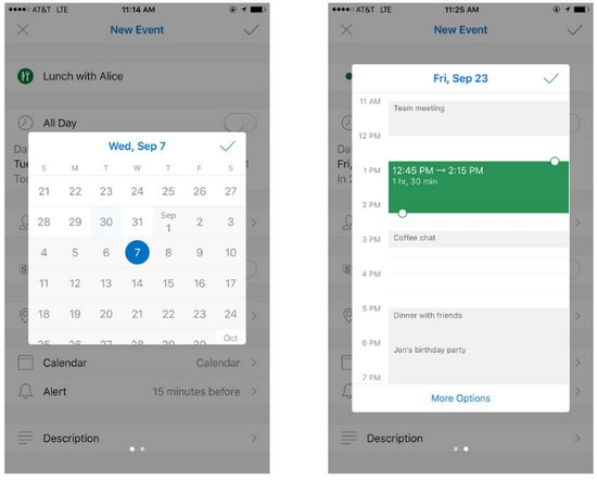 Calendario de Outlook - Fecha y Hora de Reuniones - iOS Android