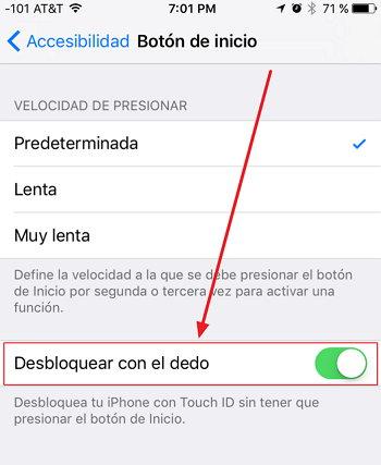 iOS 10 - Desbloquear con el Dedo