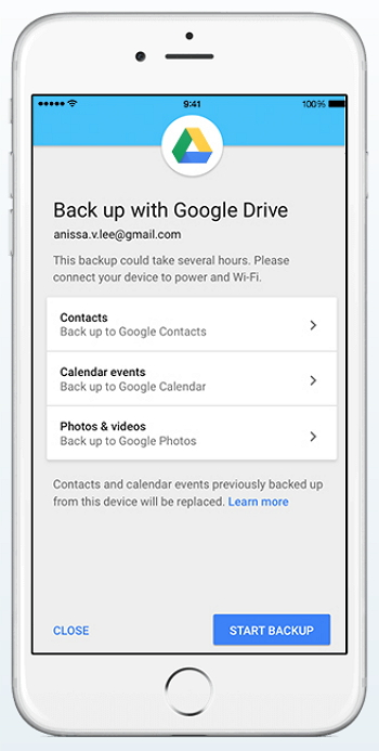 how to use google drive backup on iphone