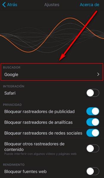 Firefox Focus iOS - Buscadores