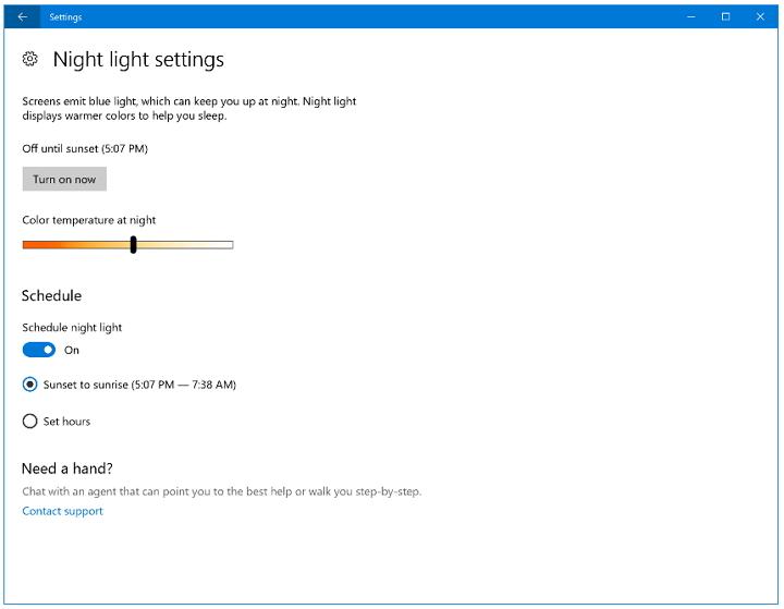 Windows 10 Insider Preview build 15025 -Night Light Color Temperature