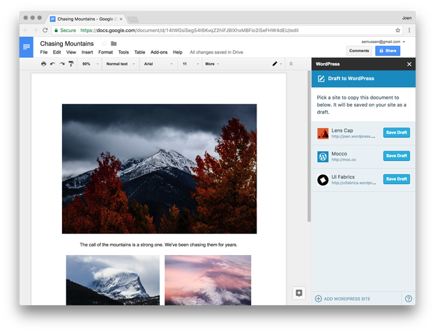 Wordpress.com para Google Docs