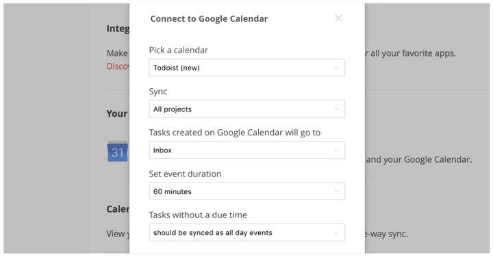 Todoist - Calendario de Google