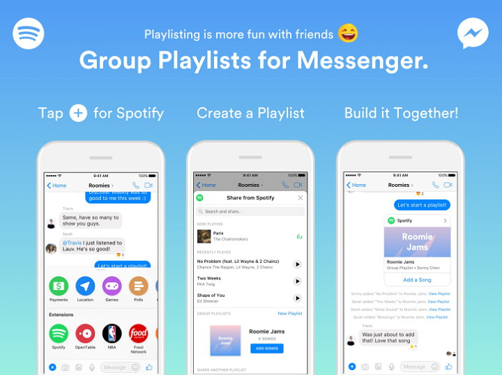 Crear Playlists de Spotify desde Facebook Messenger ya es posible