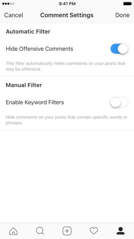 Instagram - Filtro para comentarios ofensivos