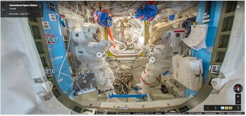 International Space Station - Google Street View&quot; / </noscript> </p> <p> The first of these facts was that the mission was led by Peggy Whitson, who at 56 years of age became the oldest woman to fly into space and the first woman in history to command </p> </p> <p><p> It was also the first time that images were captured for <strong> Street View </strong> beyond our planet and the first time they appear small notes, marked with blue dots, as Visitors explore the International Space Station </p> <p> <img data-attachment-id=