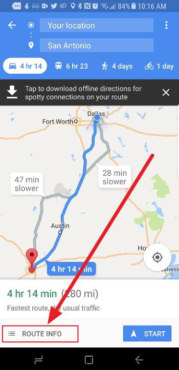 Google Maps - Mejor Hora para Partir de Viaje