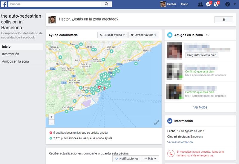 Comprobación del Estado de Seguridad de Facebook - Barcelona 17/8/2017