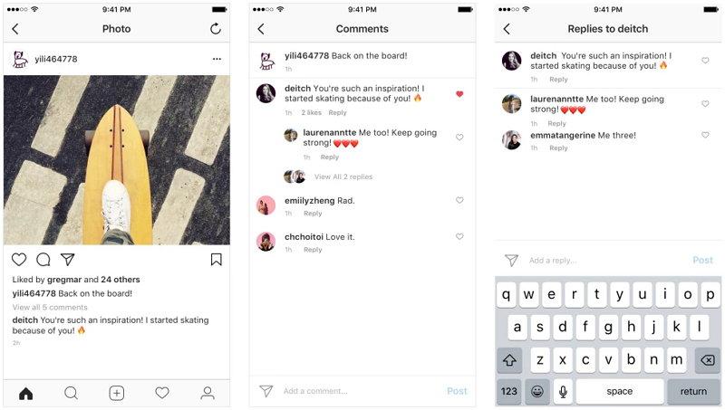 Instagram introduce las cadenas de comentarios