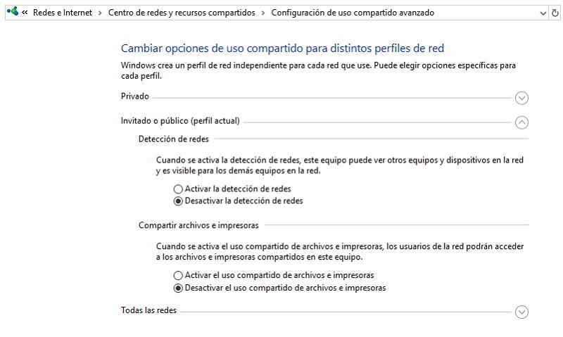 Opciones de uso Compartido - Red WiFi Pública