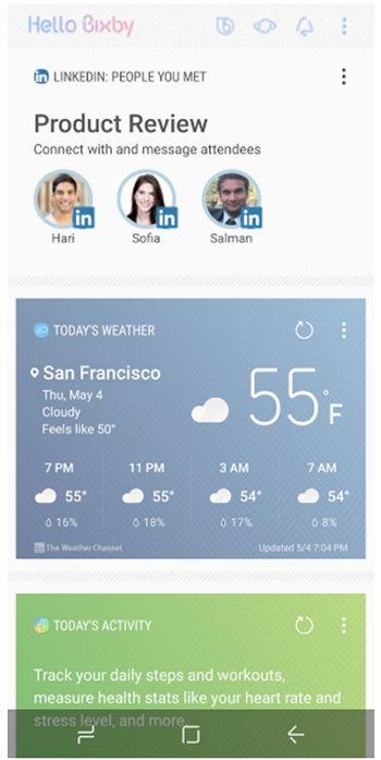 Samsung Bixby - LinkedIn - Calendario