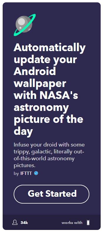 IFTTT - Android - Actualizar Wallpaper - Foto del Día de la NASA