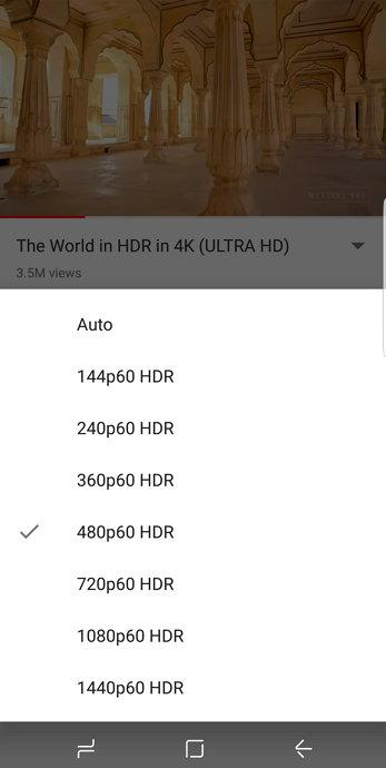 Youtube - Samsung Galaxy S8 - HDR Vídeo