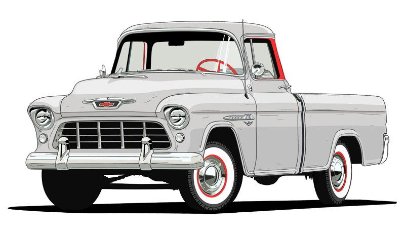 100 Años de Camionetas Chevroltet - 1955 Chevy 3124 Series Cameo Carrier
