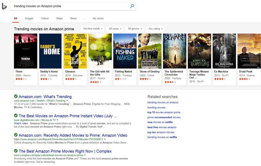 Bing - Trending Movies on Amazon Prime