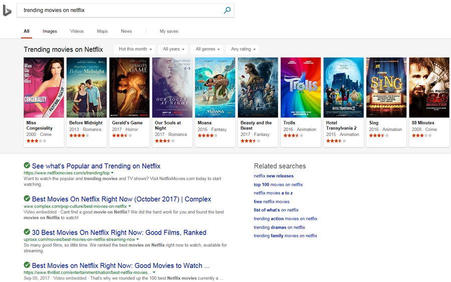 Bing - Trending Movies on Netflix