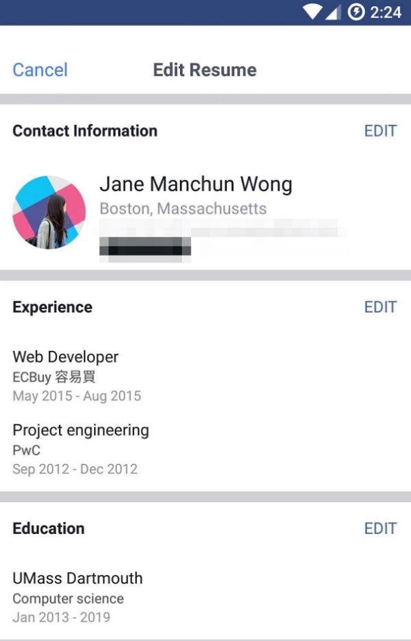 Facebook Curriculum Vitae - Resume