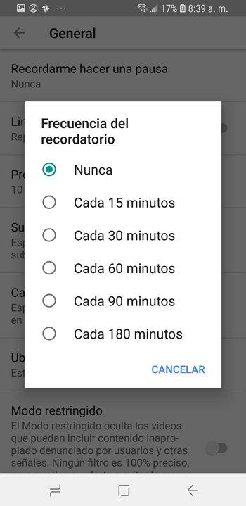 Youtube - Recordarme Hacer una Pausa - Frecuencia del Recordatorio