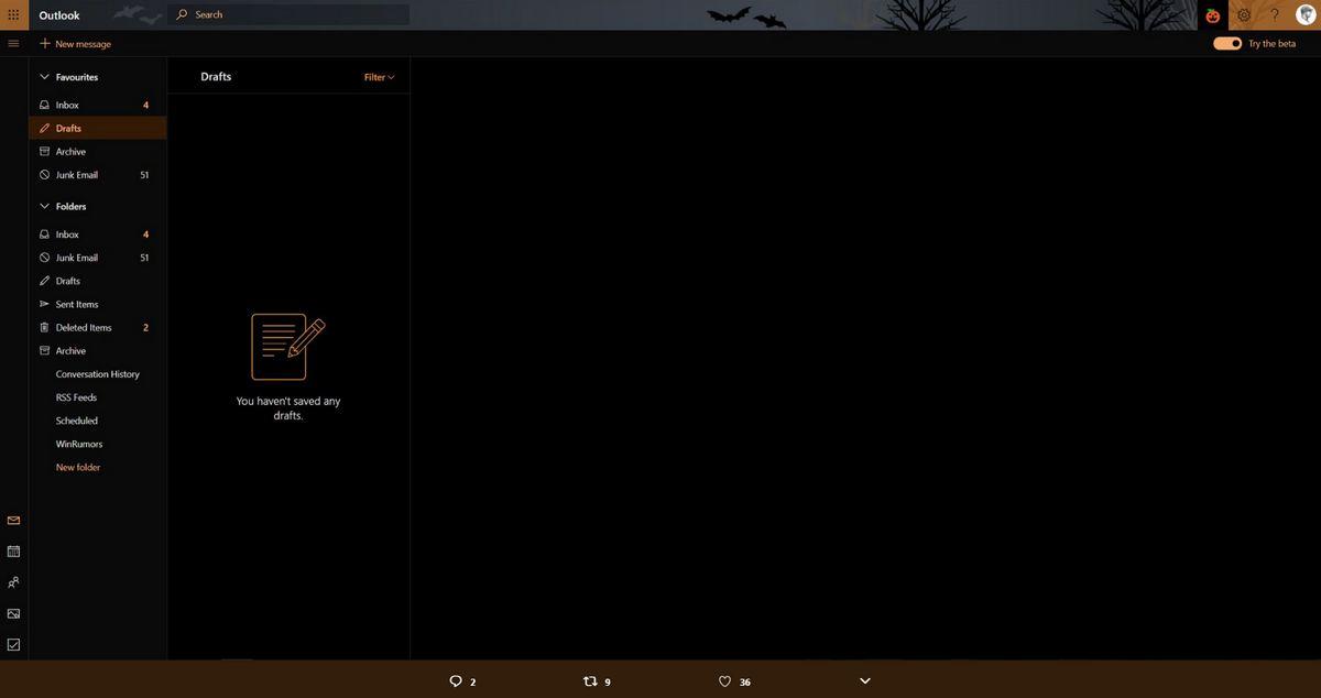 Outlook.com Modo Oscuro - Halloween