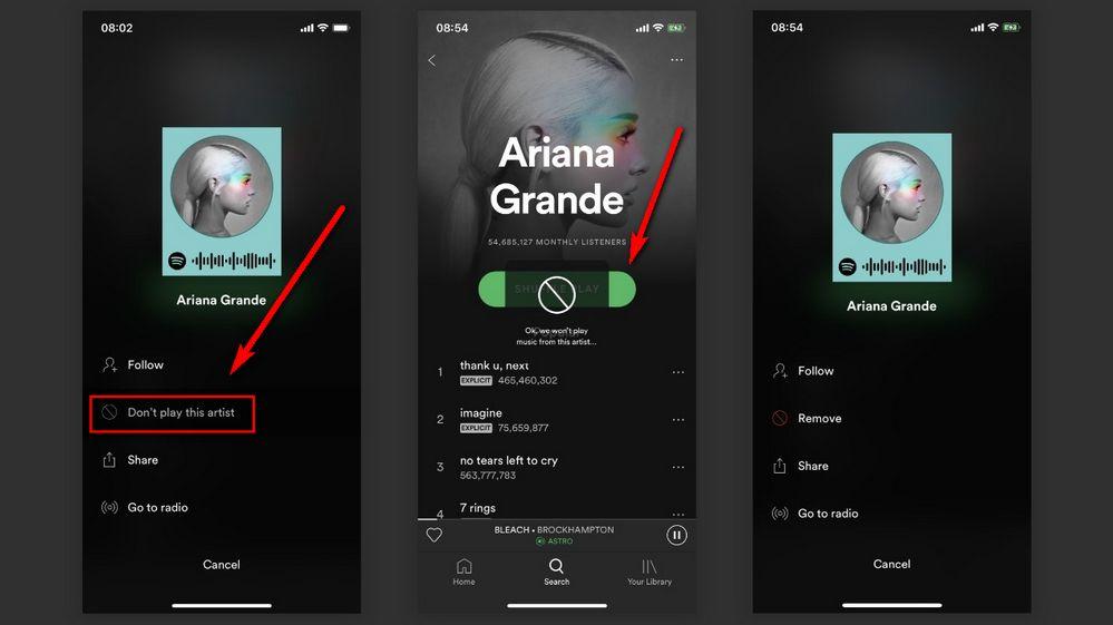 Spotify - Bloquear Artistas