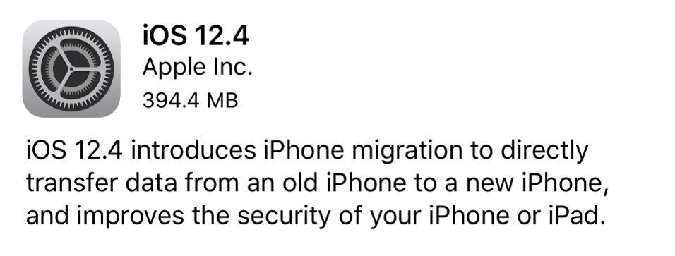 iOS 12.4 - Migración de Datos Inalámbrica
