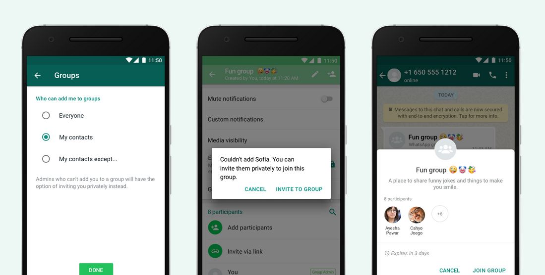 Grupos de WhatsApp - Controles sobre Invitaciones