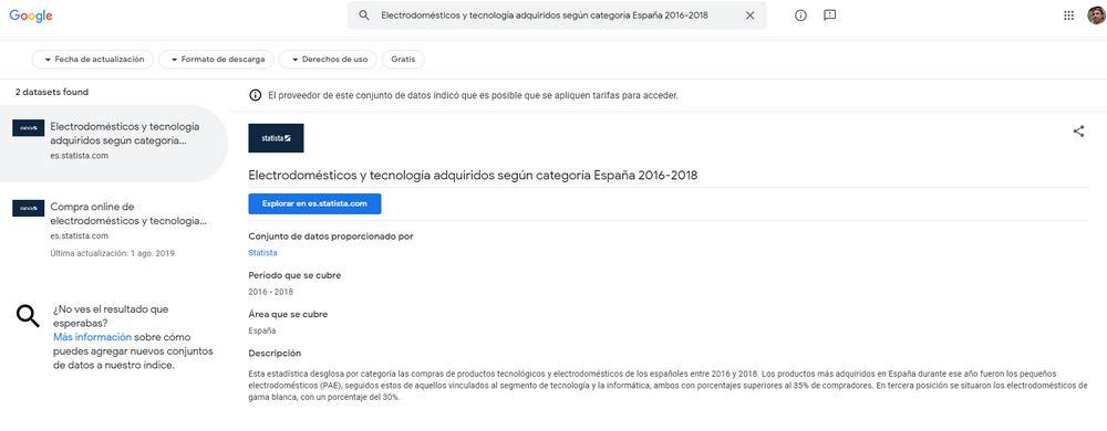 Google - Buscador de Conjuntos de Datos