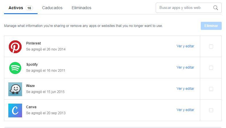 Facebook - Permisos - Aplicaciones - Sitios Web