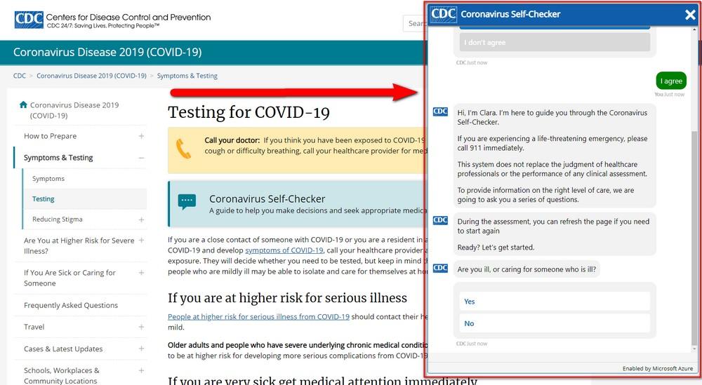 CDC Chatbot | Coronavirus Self-Checher