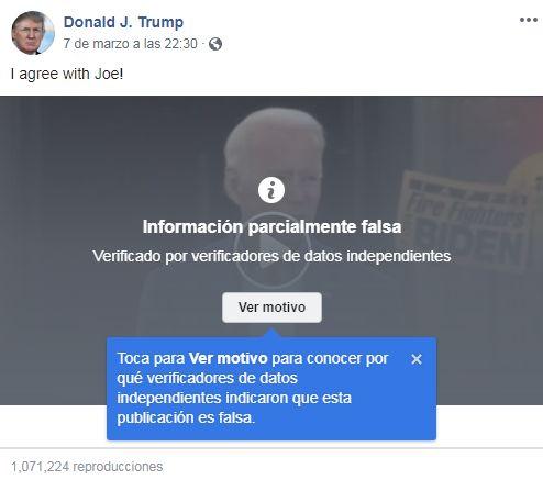 Facebook - Información Parcialmente Falsa - Joe Biden - Donald Trump