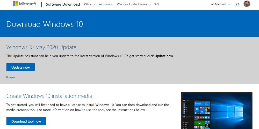 Windows 10 - Microsoft Página de Descarga