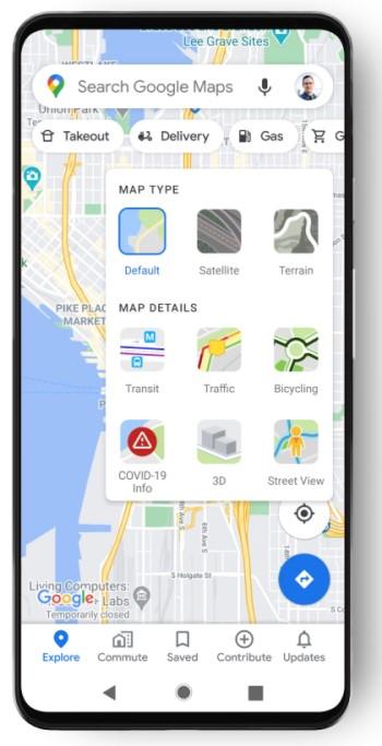 Google Maps - Capa de COVID-19